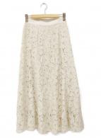 ()の古着「フレアレーススカート」 ベージュ