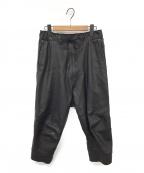 ripvanwinkle(リップヴァンウィンクル)の古着「CROPPED LEATHER PANTS」|ブラック