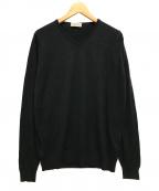 JOHN SMEDLEY(ジョンスメドレー)の古着「Vネックウールニット」|ブラック