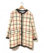 Christian Dior()の古着「[OLD]チェックツイードノーカラーコート」 ホワイト
