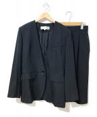 Christian Dior(クリスチャン ディオール)の古着「[OLD]パワーショルダーノーカラーセットアップ」|ブラック