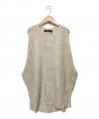 mizuiro-ind(ミズイロインド)の古着「クルーネックコクーンロングニットベスト」|アイボリー