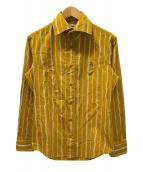 ()の古着「ストライプシャツ」 オレンジ