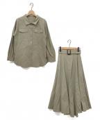 JUSGLITTY(ジャスグリッティー)の古着「ベルテッドシャツセットアップ」|カーキ
