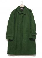 FRANK LEDER(フランクリーダー)の古着「ジャーマンレザーステンカラーコート」 グリーン