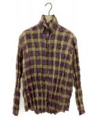 PLEATS PLEASE(プリーツプリーズ)の古着「シワ加工プリーツチェックシャツ」|パープル