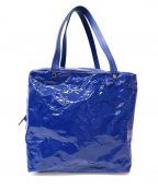 PLEATS PLEASE ISSEY MIYAKE(プリーツプリーズ イッセイミヤケ)の古着「プリーツエナメルボストンバッグ」|ブルー