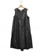 maturely(マチュアリー)の古着「Vegan Leather Dress」|ブラック