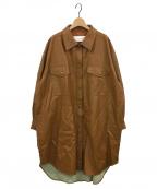 LE CIEL BLEU(ルシェルブルー)の古着「フェイクレザーシャツコート」 キャメル