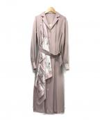 eimy istoire(エイミーイストワール)の古着「チェーンスカーフ付フロントボタンワンピース」|ピンク