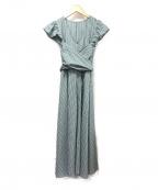 eimy istoire(エイミーイストワール)の古着「フリルストライプフレアワンピース」|グリーン