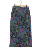 INSCRIRE(アンスクリア)の古着「フラワージャガードタイトスカート」|ブラック