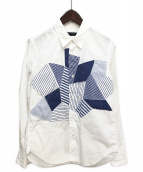 ()の古着「パッチワークシャツ」 ホワイト×ブルー