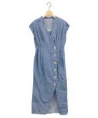 HER LIP TO(ハーリップトゥー)の古着「Denim Wrap-effect Midi Dress」|ブルー