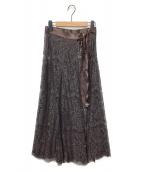 ()の古着「カラーレースラップスカート」 ブラウン