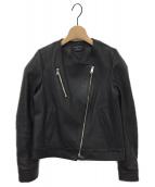UNITED TOKYO(ユナイテッドトーキョー)の古着「ノーカラーライダースジャケット」|ブラック