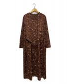 SALON adam et rope(サロン アダム エ ロペ)の古着「プリントロングドレス」|ブラウン