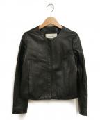 Rouge vif(ルージュヴィフ)の古着「ノーカラーレザーブルゾン」 ブラック