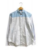 ()の古着「コーティングチェック&ストライプシャツ」