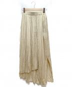 emmi atelier(エミアトリエ)の古着「Iラインプリーツスカート」|ベージュ
