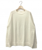UNIVERSAL PRODUCTS.(ユニバーサルプロダクツ)の古着「LOW GAUGE CREW NECK KNIT」 ホワイト