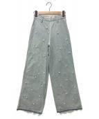 Tu es mon TRESOR(トゥ エ モン トレゾア)の古着「パールワイドデニムパンツ」|インディゴ