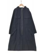 DRIES VAN NOTEN(ドリスヴァンノッテン)の古着「フーデッドウールコート」|ネイビー