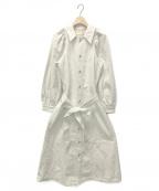 moussy(マウジー)の古着「PUFF SLEEVE DENIM LONG ドレス」 オフホワイト