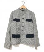 ROBE DE CHAMBRE COMME DES GARCONS(ローブドシャンブル コムデギャルソン)の古着「[OLD]ハウンドトゥースマオカラージャケット」|ホワイト