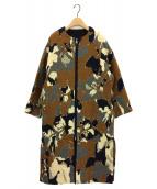 LIFE WITH FLOWERS.(ライフ ウィズ フラワーズ)の古着「ジャガードノーカラーコート」|ブラウン