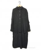 DRESSTERIOR(ドレステリア)の古着「リネン製品染めロングテールシャツ」|ブラック
