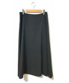 Y's YOHJI YAMAMOTO(ワイズ ヨウジヤマモト)の古着「ウールギャバフレアロングスカート」|ブラック