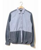 ()の古着「ダンガリー×ストライプ切替シャツ」|スカイブルー