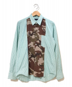 ()の古着「カモフラ×チェック切替シャツ」|グリーン