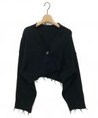 PERVERZE(パーバーズ)の古着「Double Face Rib Cardigan」|ブラック