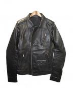 RICK OWENS(リックオウエンス)の古着「ダブルライダースジャケット」|ブラック
