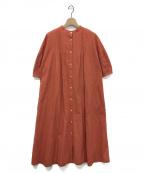 GRANDMA MAMA DAUGHTER(グランマママドーター)の古着「ピンタックパフスリーブワンピース」|オレンジ