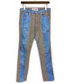 ()の古着「切替ヒッコリーパンツ」|ブルー