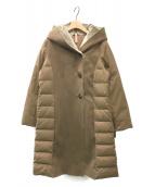 YOSOOU(ヨソオウ)の古着「フェイクムートンコンビロングダウンコート」|ブラウン