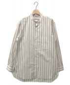 ()の古着「ストライプスタンドカラーシャツ」|アイボリー