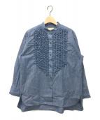 ()の古着「フリルスタンドカラーシャツ」|インディゴ