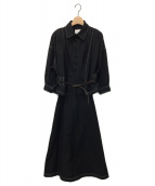 Ameri VINTAGE(アメリビンテージ)の古着「GENTLEWOMAN OVERLAP DRESS」|ブラック