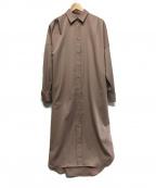 Loungedress(ラウンジドレス)の古着「サテンBIGシャツワンピース」 ベージュ