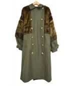 MURUA(ムルーア)の古着「ロングダブルトレンチコート」|カーキ