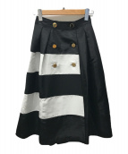 ()の古着「トリアセボーダー切替スカート」|ブラック