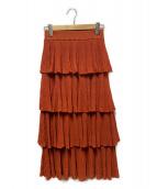 ()の古着「シアーリブニットスカート」 オレンジ