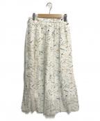TOMORROW LAND()の古着「ウォーターフロウプリントミディプリーツスカート」|ホワイト