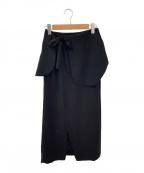 ENFOLD()の古着「ダブルサテンラップパーツスカート」|ブラック