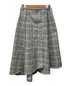 ()の古着「ポリエステルコットンチェックアシンメトリーフレアスカート」 グレー