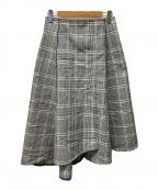 DES PRES(デプレ)の古着「ポリエステルコットンチェックアシンメトリーフレアスカート」|グレー